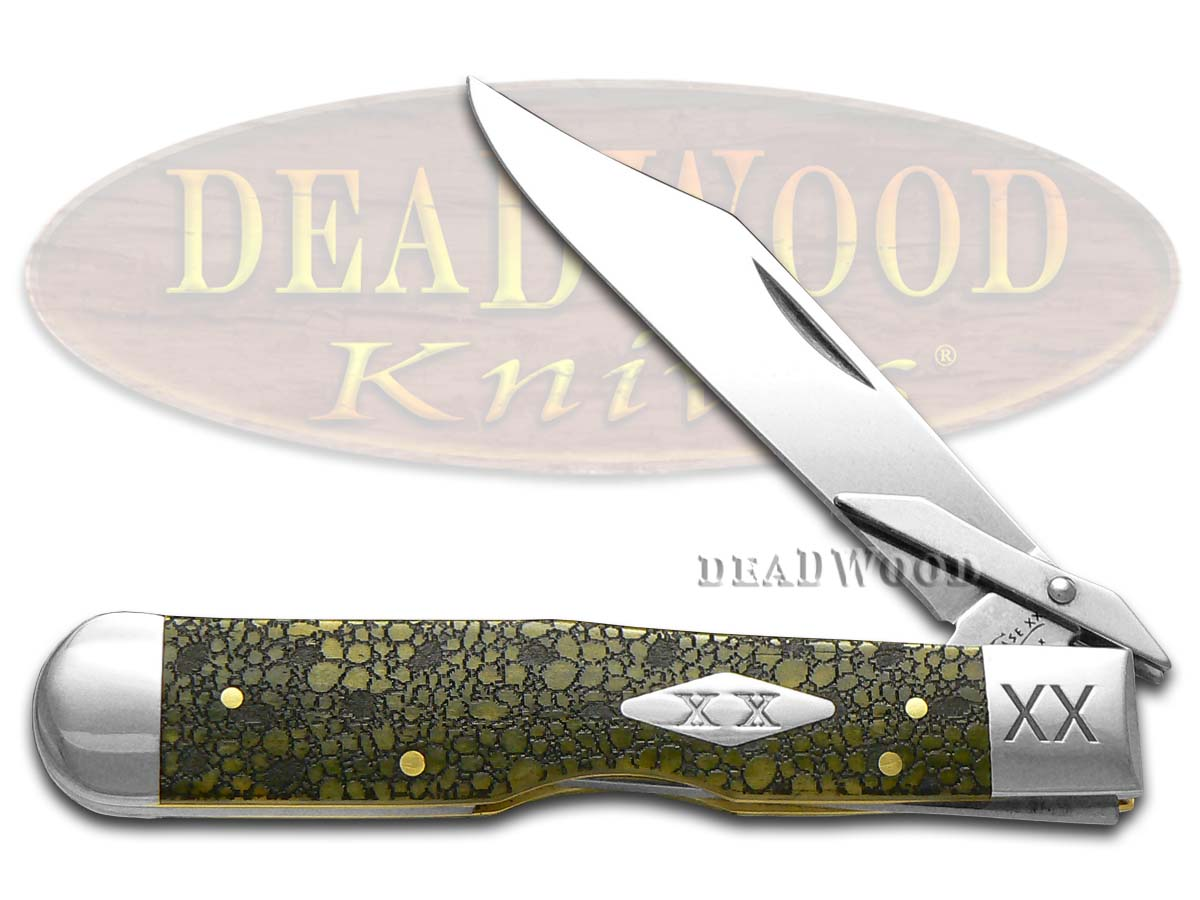 Case xx Lizard Skin Olive Green Bone Cheetah 1/500 Stainless Pocket Knife Knives
