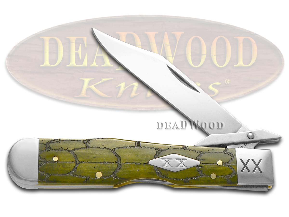 Case xx Tortoise Shell Olive Green Bone Cheetah 1/500 Stainless Pocket Knife Knives