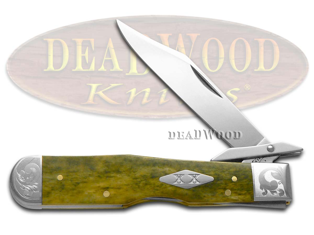 Case xx Smooth Olive Green Bone Scrolled Cheetah 1/300 Stainless Pocket Knife Knives