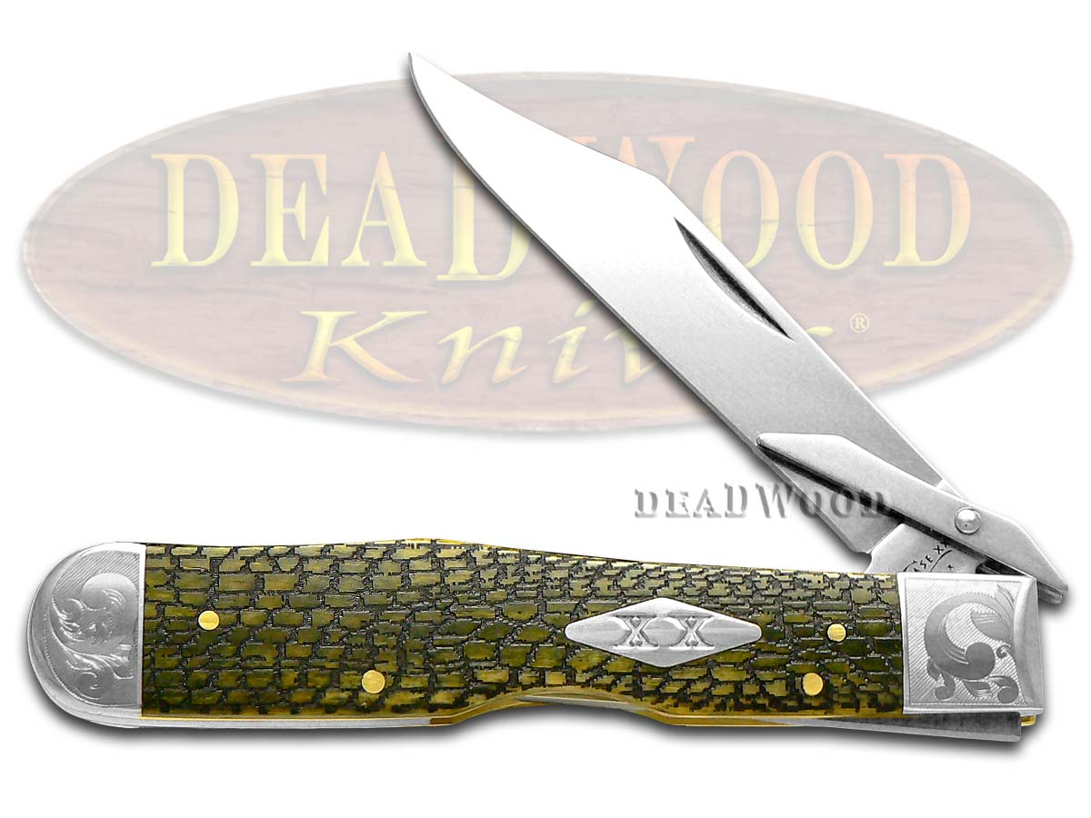 Case xx Alligator Skin Olive Green Bone Scrolled Cheetah 1/200 Stainless Pocket Knife Knives