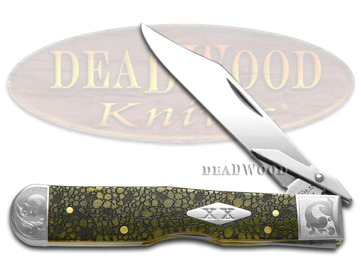 Case xx Lizard Skin Olive Green Bone Scrolled Cheetah 1/200 Stainless Pocket Knife Knives
