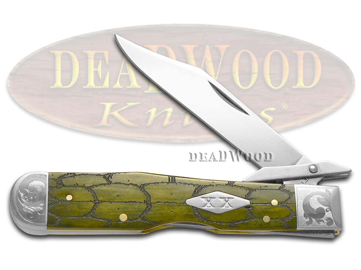 Case xx Tortoise Shell Olive Green Bone Scrolled Cheetah 1/200 Stainless Pocket Knife Knives