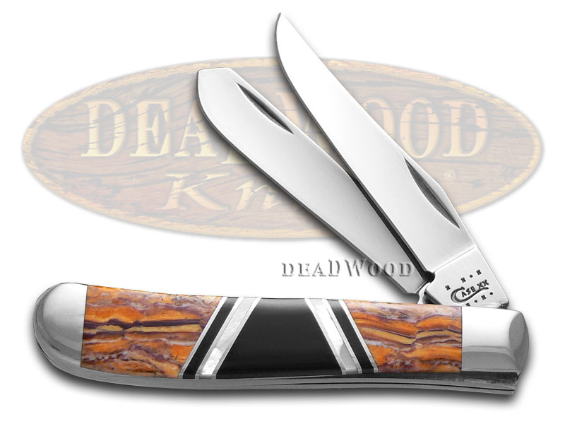 Case xx Exotic Orange Lion's Paw Mini Trapper 1/500 Stainless Pocket Knife Knives