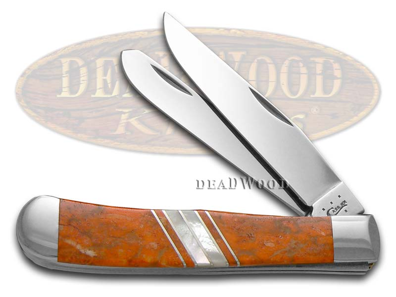Case xx Exotic Orange Coral & Genuine Mother Of Pearl 1/500 Trapper Stainless Pocket Knife