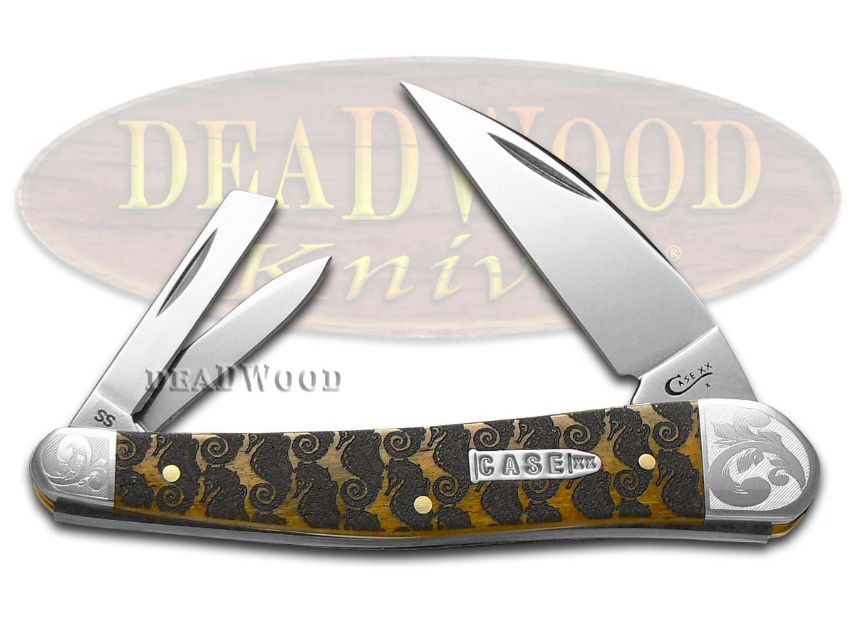 Case xx Etched Antique Bone Scrolled Seahorse Whittler 1/200 Stainless Pocket Knife Knives