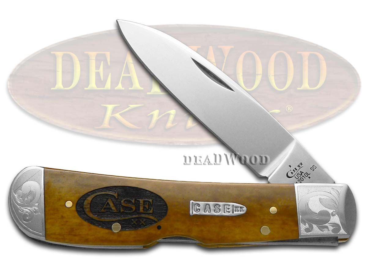Case xx Logo Scrolled Antique Bone Tribal Lock Stainless Pocket Knife Knives