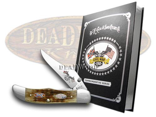 Case xx Civil War Book Vol 10 Battle Chattanooga Honey Brown Jigged Mid Folding Hunter Pocket Knife