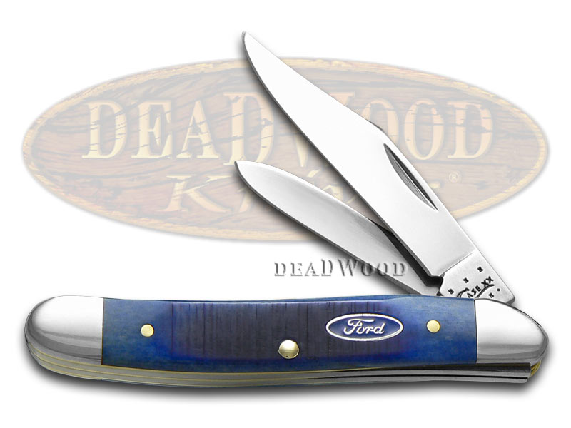 Case xx Ford Motor Company Blue Bone Medium Jack Stainless Pocket Knife Knives