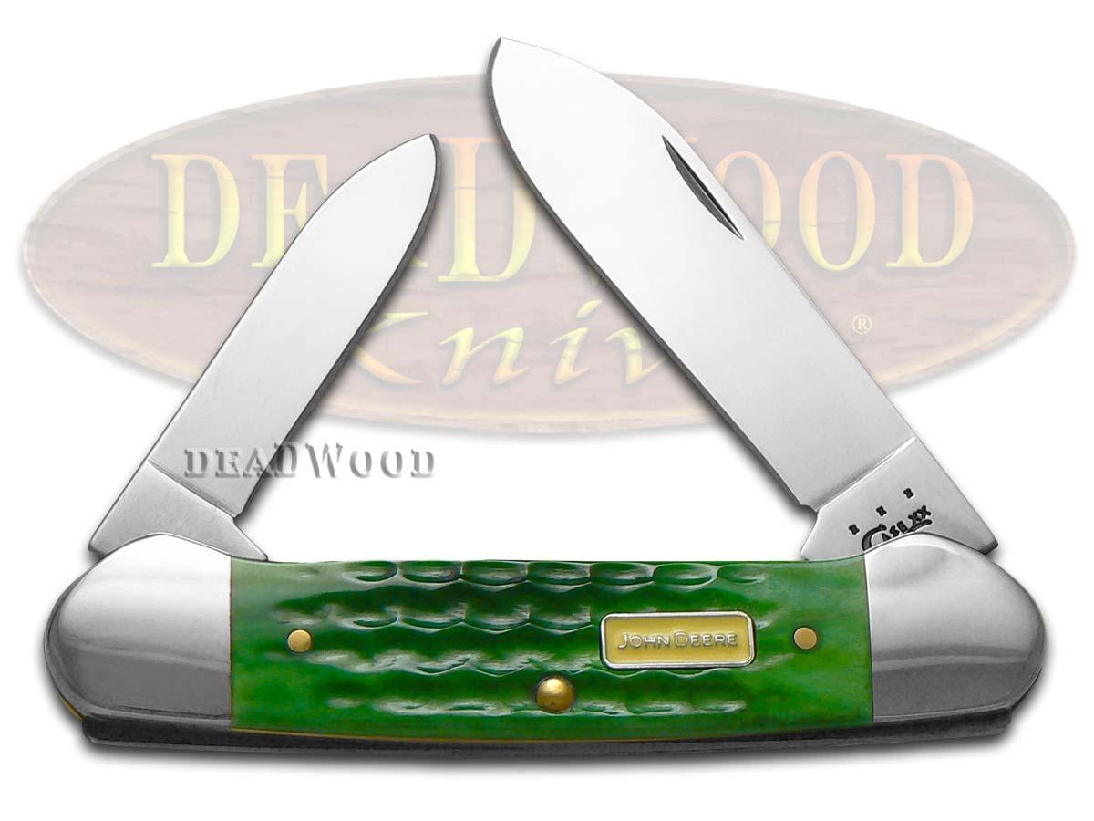 Case xx John Deere Jigged Green Bone Canoe Stainless Pocket Knife Knives