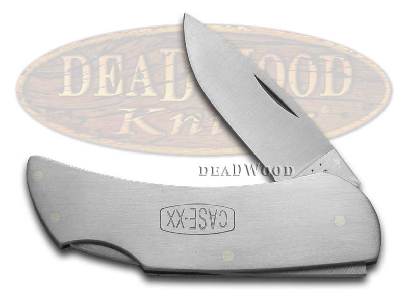 Case xx Engraved Logo Brushed Stainless Steel Executive Lockback Pocket Knife Knives