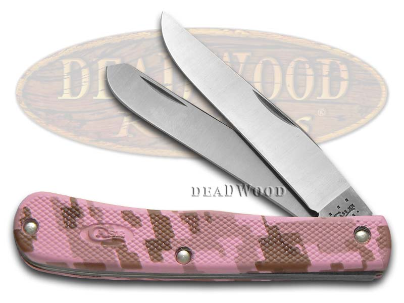 Case xx Pink Camo Synthetic Zytel Trapper Stainless Pocket Knife Knives