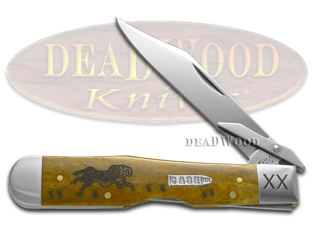 Case xx Running Cheetah Antique Bone 1/500 Stainless Pocket Knife Knives