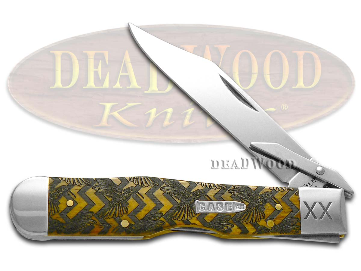 Case xx Hummingbird Scene Antique Bone Cheetah 1/500 Stainless Pocket Knife Knives