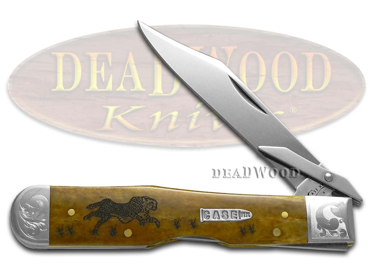 Case xx Antique Bone Running Cheetah 1/200 Stainless Pocket Knife Knives