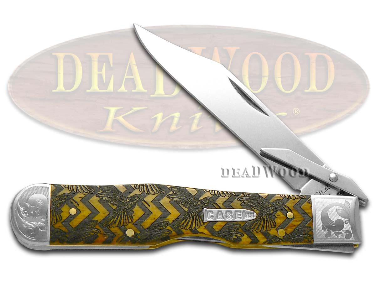 Case xx Scrolled Hummingbird Antique Bone Cheetah 1/200 Stainless Pocket Knife Knives