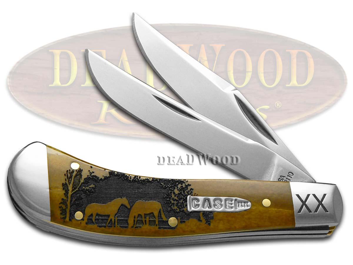 Case xx Horses Antique Bone Saddlehorn 1/500 Stainless Pocket Knife Knives