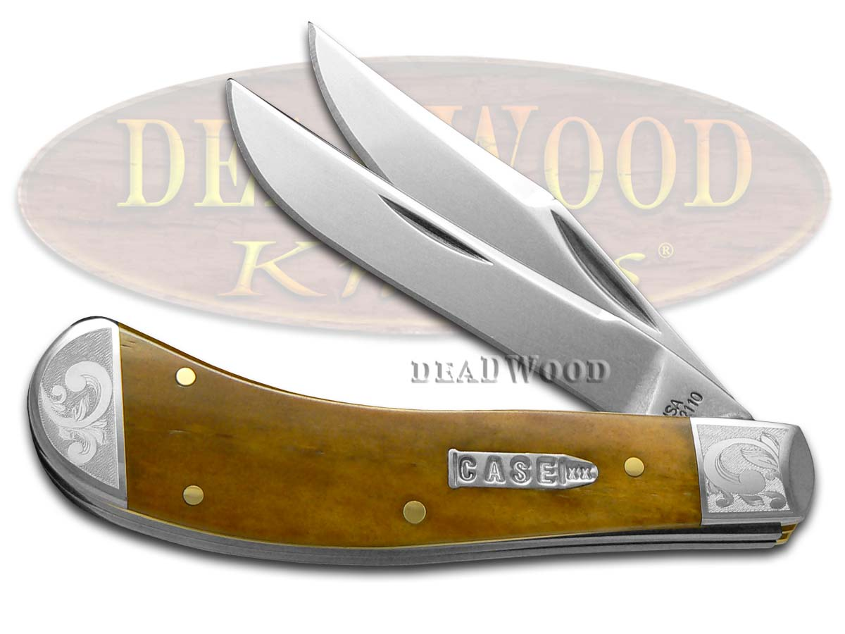 Case xx Smooth Antique Bone Scrolled Saddlehorn 1/300 Stainless Pocket Knife Knives