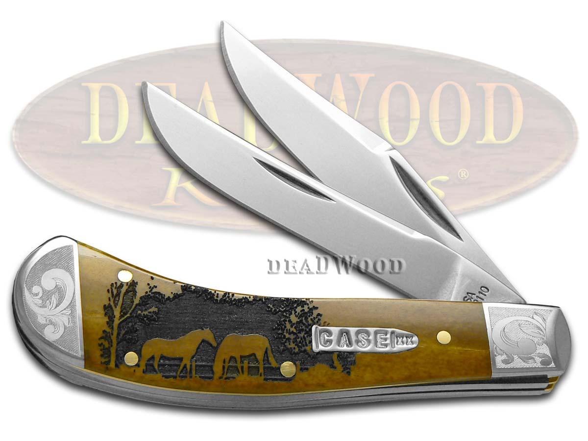 Case xx Horses Antique Bone Saddlehorn 1/200 Stainless Pocket Knife Knives