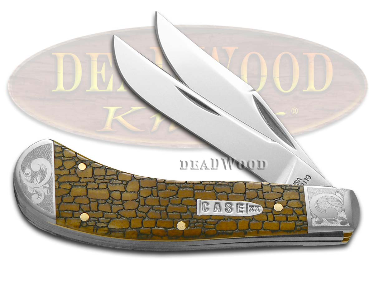 Case xx Stone Wall Antique Bone Saddlehorn Scrolled 1/200 Stainless Pocket Knife Knives
