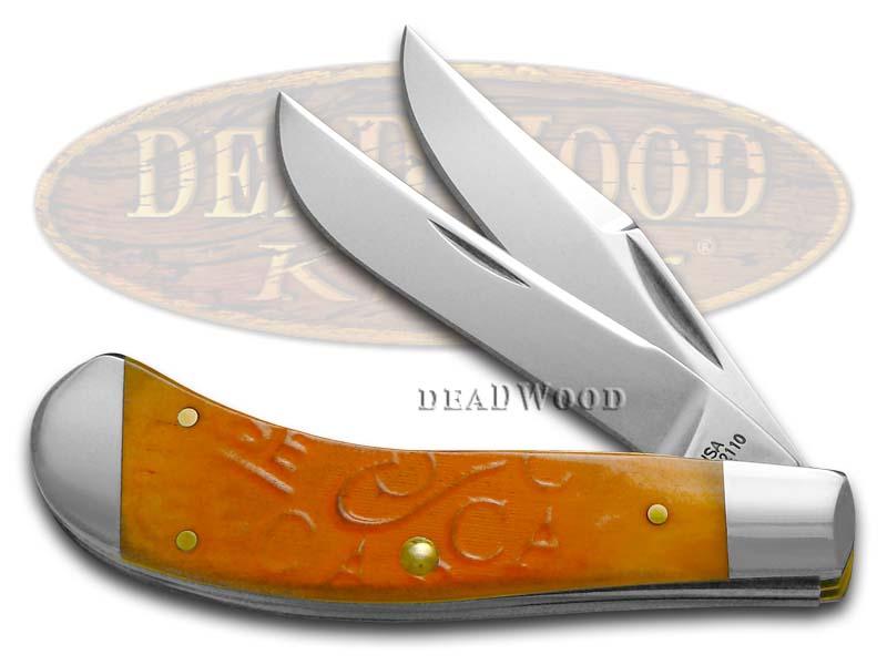 Case xx Embellished Burnt Persimmon Orange Bone Saddlehorn Stainless Pocket Knife Knives