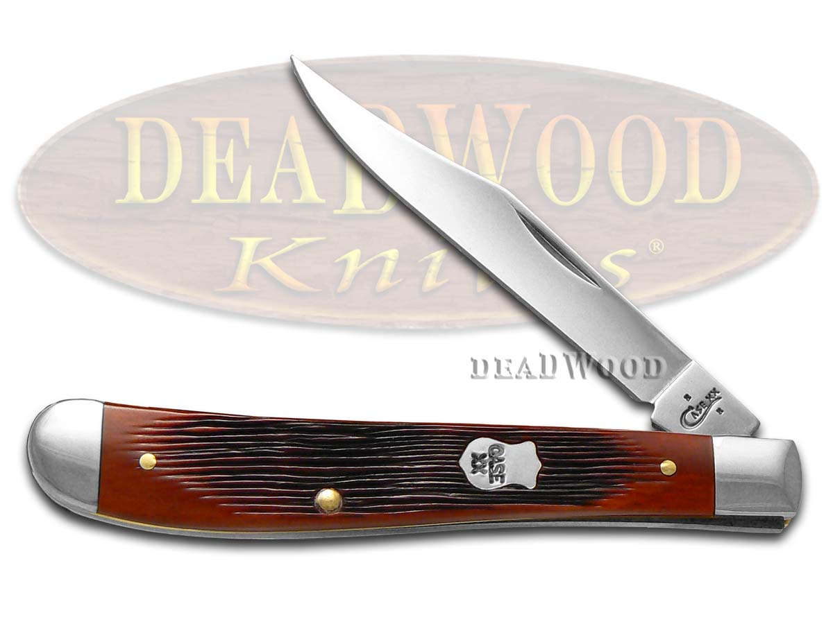 Case xx Barnboard Jigged Chestnut Bone Slimline Trapper Stainless Pocket Knife Knives