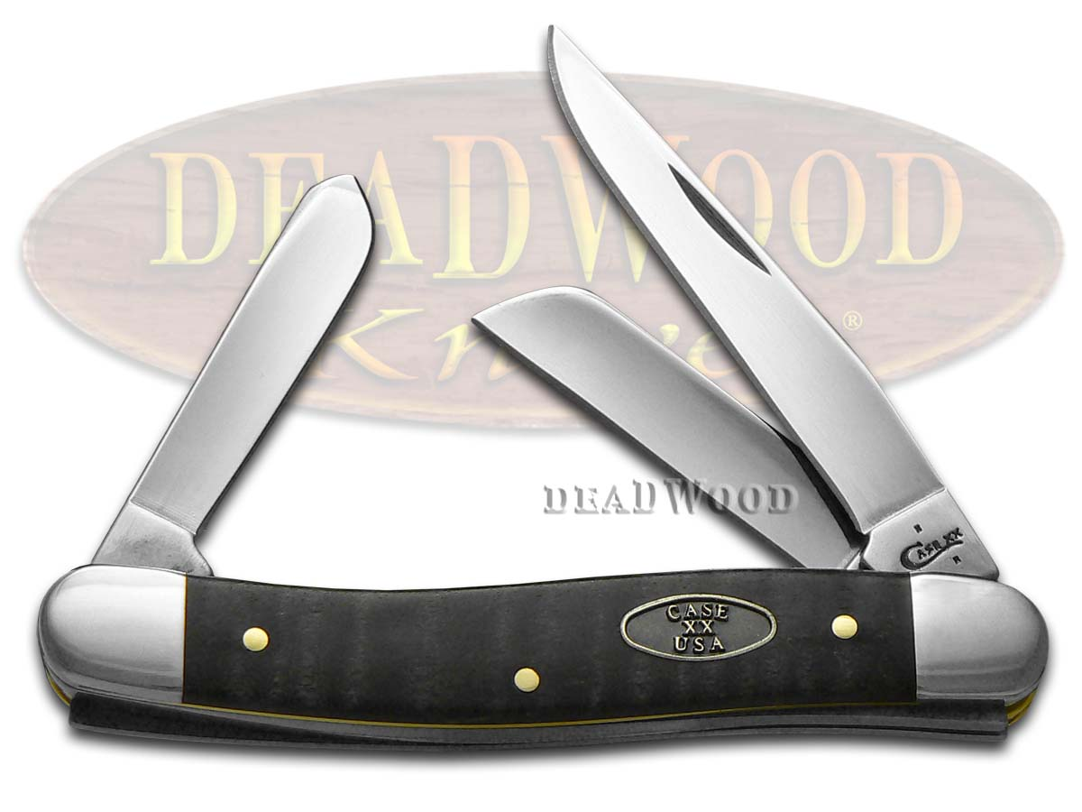 Case xx Smooth Black Curly Maple Wood Medium Stockman Stainless Pocket Knife Knives