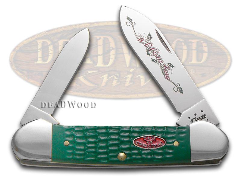 Case xx Christmas Jigged Dark Green Canoe Stainless Pocket Knife Knives