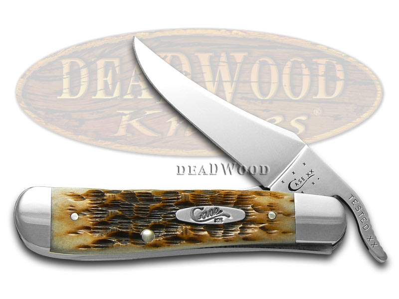 Case xx Jigged Amber Bone Russlock Stainless Pocket Knife Knives