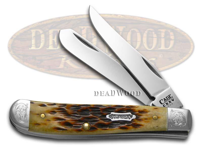 Case xx Engraved 125th Ann. Antique Bone Mini Trapper 1/500 Stainless Pocket Knife Knives