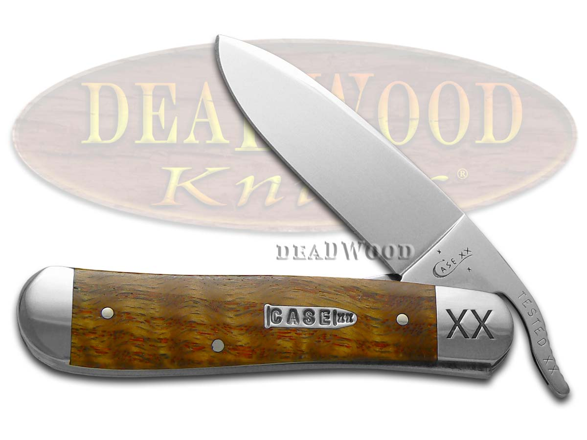 Case xx Smooth Curly Oak Wood Russlock Stainless Pocket Knife Knives