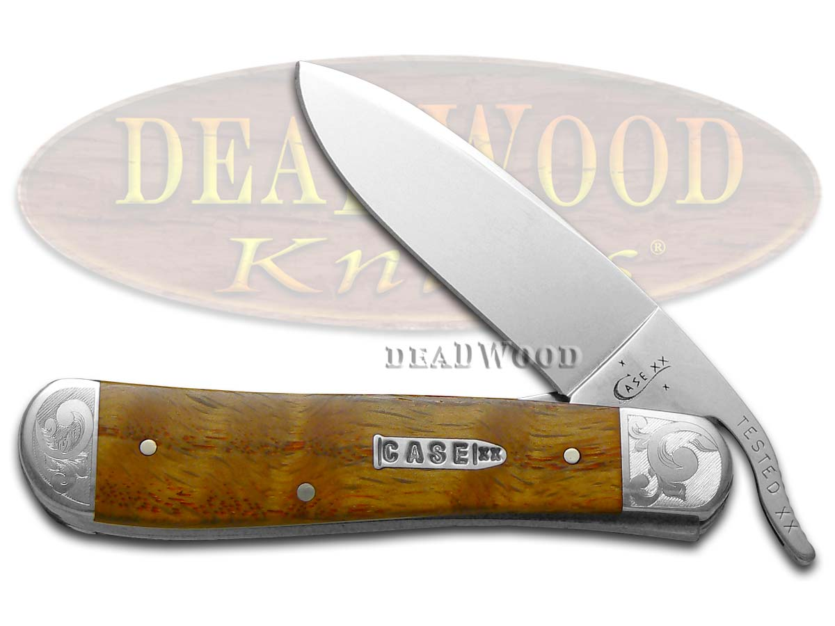 Case xx Scrolled Curly Oak Wood Russlock Stainless Pocket Knife Knives