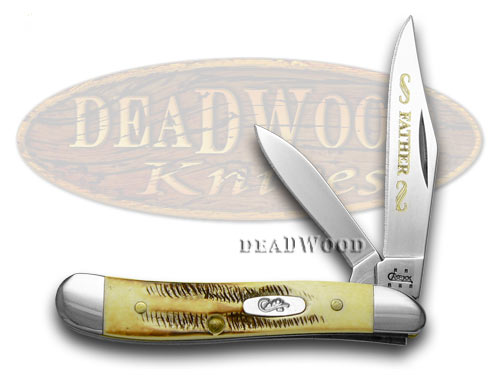 Case xx Father Etched Peanut - Genuine Bone Stag Pocket Knife Knives