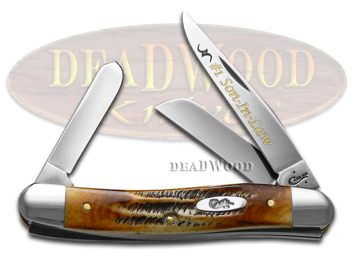 Case xx No.1 Son-in-Law BoneStag Medium Stockman Stainless Pocket Knife Knives