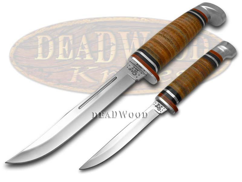 CASE XX Twin Finn Polished Leather 2-Knife Hunter Set Stainless Knives - $127.76 | PicClick