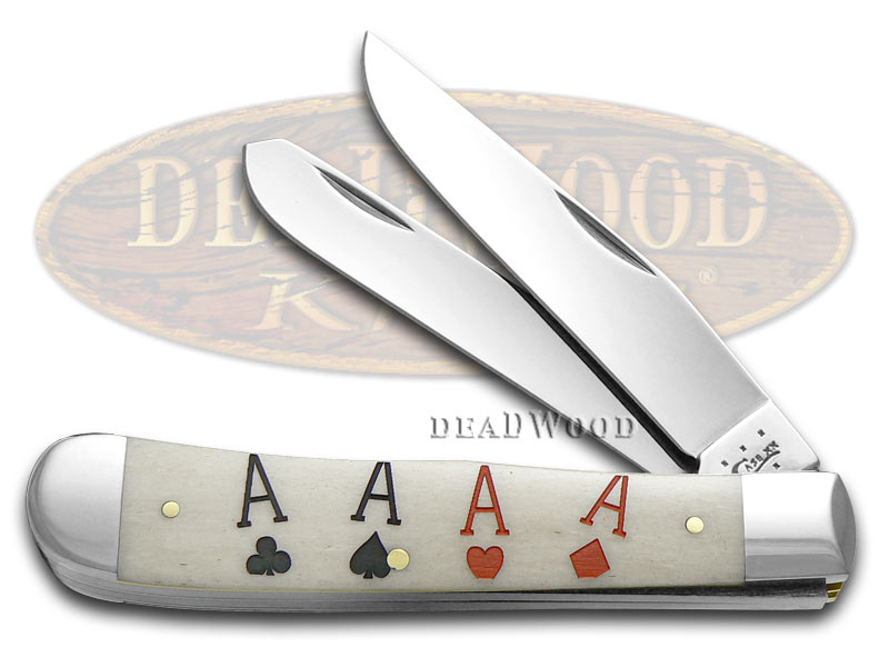 Case xx Poker Family Aces Natural Bone Trapper Stainless Pocket Knife Knives