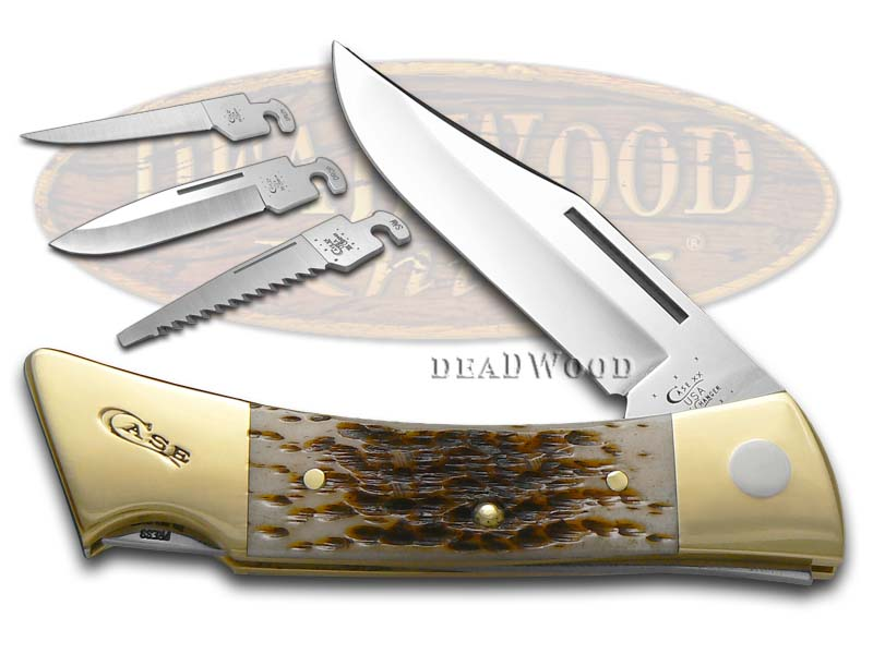 Case xx Jigged Amber Bone XX-Changer Stainless Utility Pocket Knife Knives