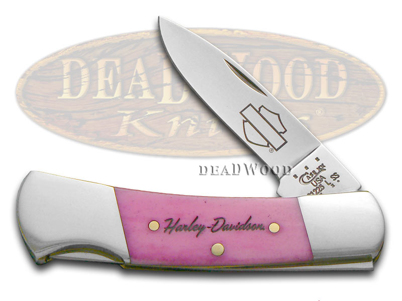 Case xx Harley-Davidson Pink Bone Small Lockback Stainless Pocket Knife Knives