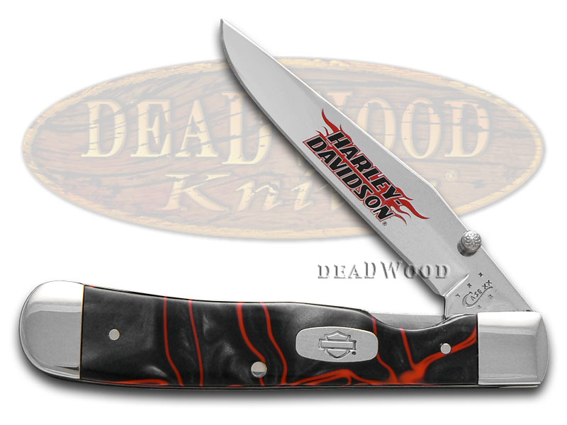 Case xx Harley-Davidson Black Lava Kirinite Trapperlock Stainless Pocket Knife Knives