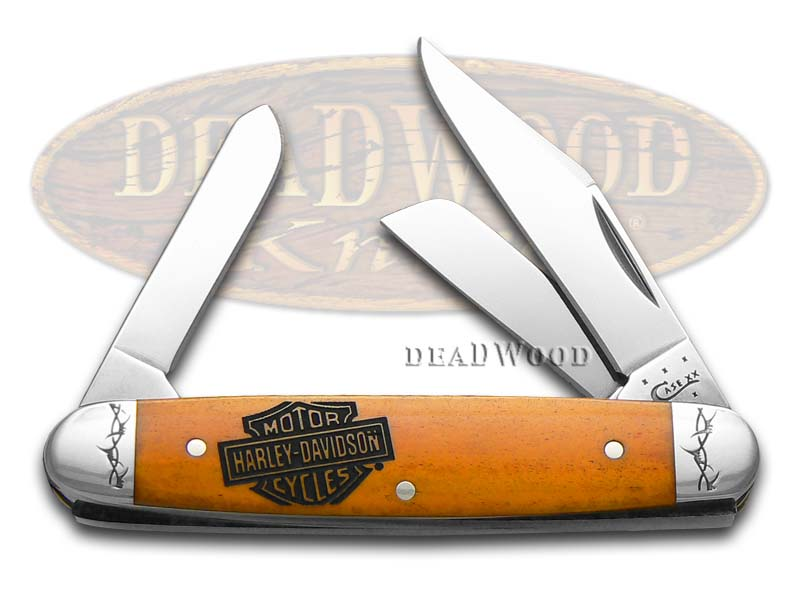 Case xx Harley-Davidson Smooth Persimmon Orange Bone Stockman Stainless Pocket Knife Knives