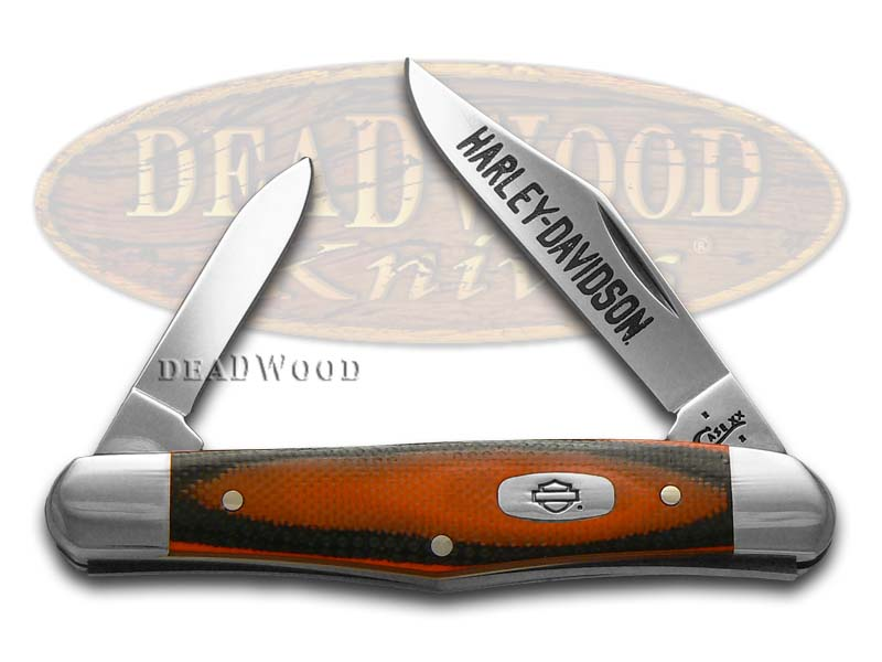 Case xx Harley-Davidson Orange and Black G10 Half Whittler Stainless Pocket Knife