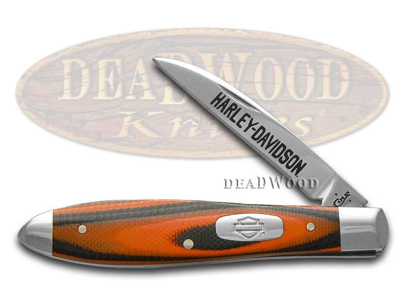 Case xx Harley-Davidson Orange and Black G10 Tear Drop Gent Stainless Pocket Knife