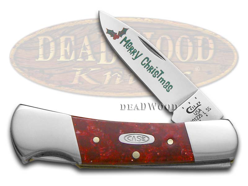 Case xx Merry Christmas Red Sparkle Kirinite Lockback Stainless Pocket Knife Knives