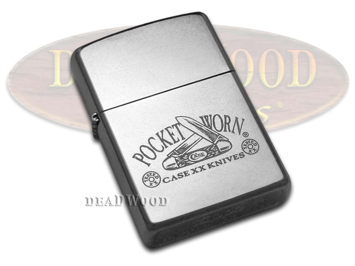 Case xx Pocket Worn Logo etched Street Chrome Zippo Windproof Lighter