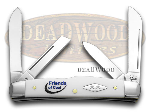 Case xx Smooth White Delrin Friends of Coal Congress Pocket Knife Knives