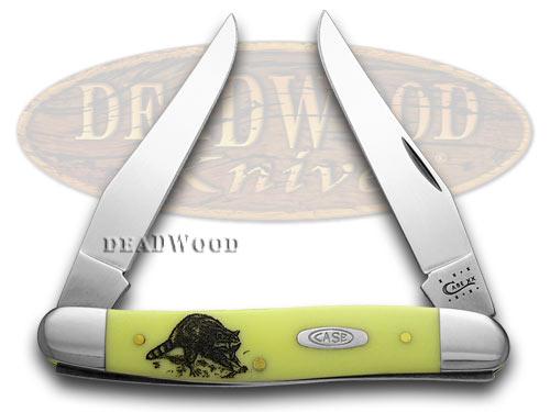 Case xx Yellow Delrin Raccoon Muskrat Pocket Knife Knives CV