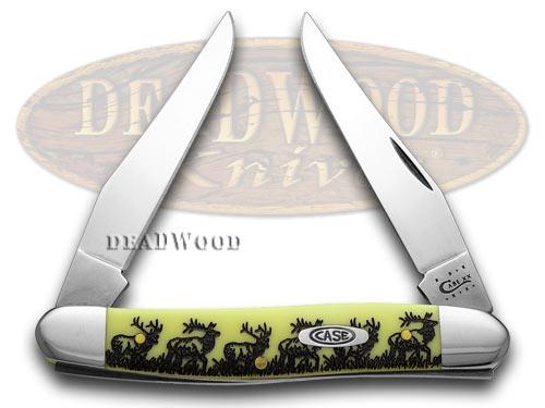 Case xx Yellow Delrin Elk Walking Muskrat Pocket Knife Knives CV