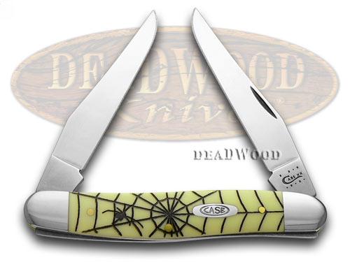 Case xx Yellow Delrin Spider Web Muskrat Pocket Knife Knives CV