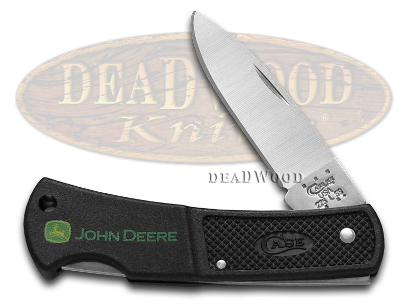 Case xx Black Zytel John Deere Lockback Stainless Pocket Knife Knives