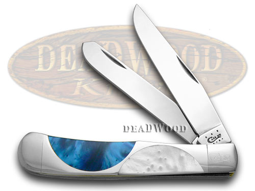 Case xx Blue Silk White Pearl and Nickel Silver Half Circle Trapper Pocket Knife Knives