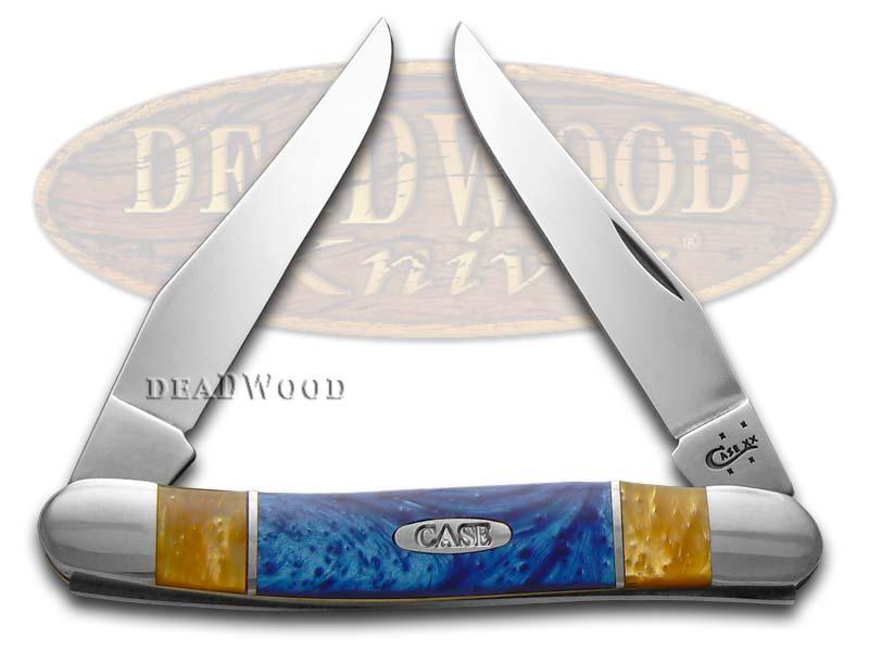 Case xx Antique Gold and Blue Silk Corelon Muskrat Stainless Pocket Knife Knives